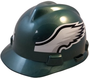 MSA NFL Team Safety Helmets with One-Touch Adjustable Suspension and Hard Hat Tote - Philadelphia Eagles