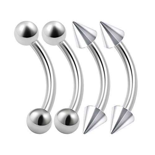 4PCS Stainless Steel Curved Barbell Bar 16 gauge 5/16 8mm 3mm Ball Spike Snake Bite Earrings Eyebrow Piercing Jewelry (16 Gauge Eyebrow)