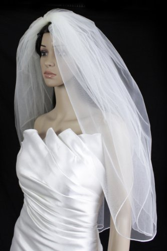 Bridal Wedding Veil Diamond (Off) White 2 Tiers Fingertip Length Pencil ()