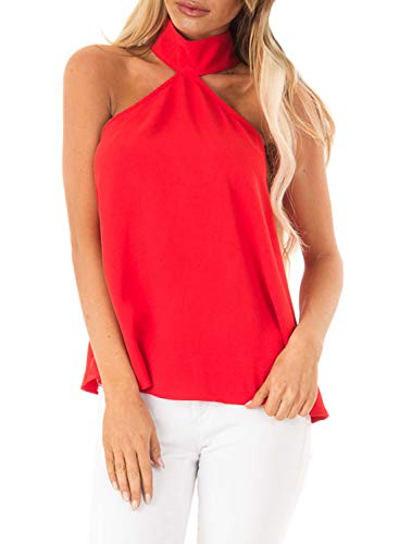 Asvivid Womens Halter Neck Shirt Blouse Ladies Sleeveless Camis Tank Tops Clubwear Plus Size 2X Red ()