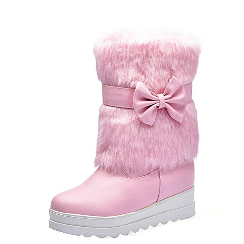 Allhqfashion Women's Round Closed Toe Low-top Kitten-Heels Solid PU Boots Pink qhhIuK06nz