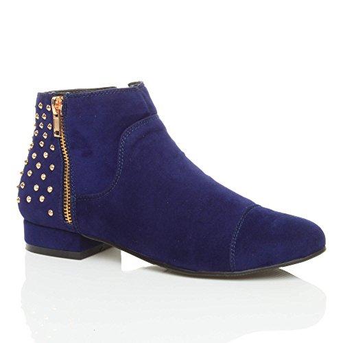 Damen Flache Kleiner Absatz Reiten Chelsea Stiefeletten Mit Goldenem Reißverschluss Nieten Größe Konigsblau Wildleder