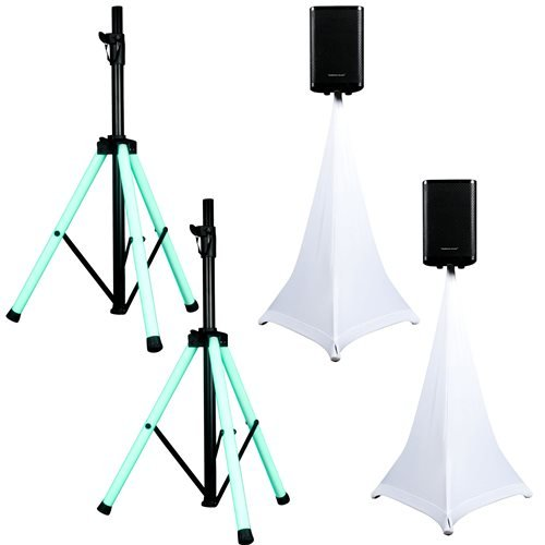 American Audio LED Light-Up Speaker Stand Pair with ADJ Scrims by American Audio