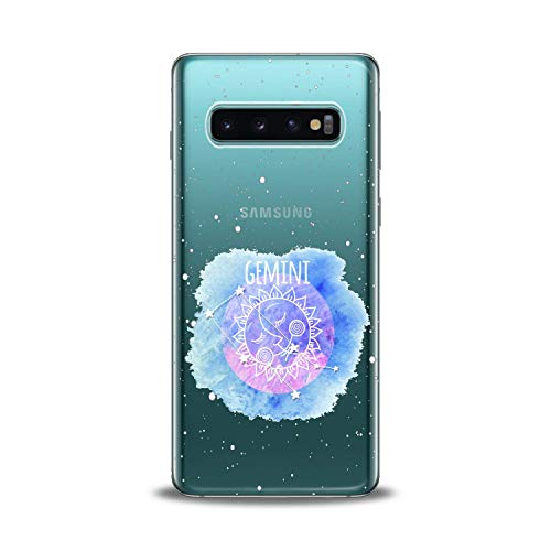 Lex Altern TPU Case for Samsung Galaxy s10 5G Plus 10e Note 9 s9 s8 s7 Zodiac Personalized Gemini Sign Clear Constellation Phone Cover Blue Purple Stars Print Protective Horoscope Girly Women Gift