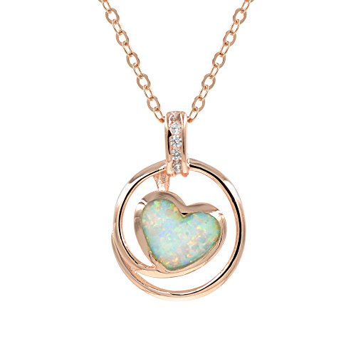 Fire Pendant White Opal - espere Lab Created White Fire Opal Heart Rose Gold Pendant Necklace, 18 Inch Sterling Silver Chain with Extender
