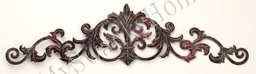 Leaf Design Wall Grille - Fleur de Lis Scroll Iron Wall Topper - Indoor or Outdoor