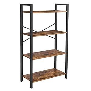 VASAGLE Étagère à 4 Niveaux, Bibliothèque avec Structure en Acier, Hauteur 120 cm, pour Salon, Bureau, entrée, Style…