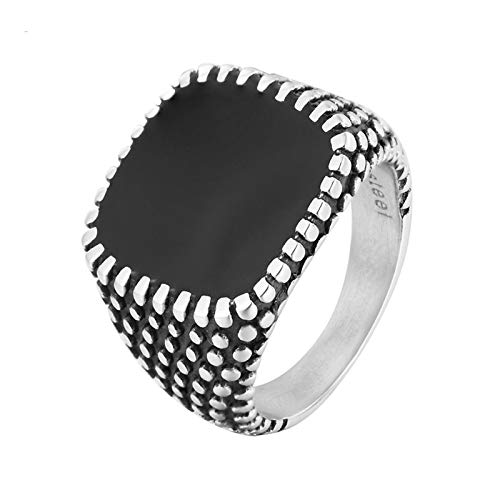 Aooaz Stainless Steel Ring Hoop Bead Square Personalized Necklace Silver Black Size 8 ()
