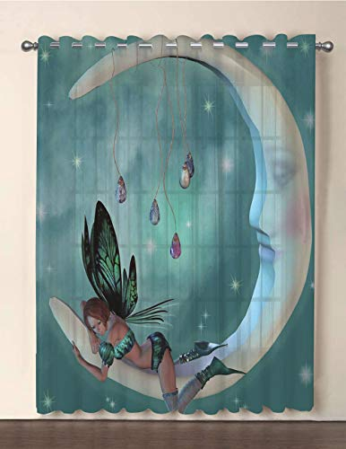 - One Panel Extra Wide Sheer Voile Patio Door Curtain,Moon,Beautiful Elf with Wings Fantastic Toonimal Faeire Pixie Starry Sky Cosmic Artwork,Teal White,for Sliding Doors(108