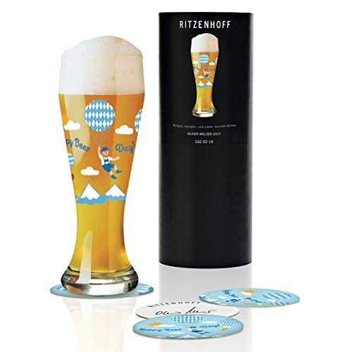 Ritzenhoff Weizen Wheat Beer Glass by Oliver Melzer, Crystal Glass, 500 ml, with five Coasters