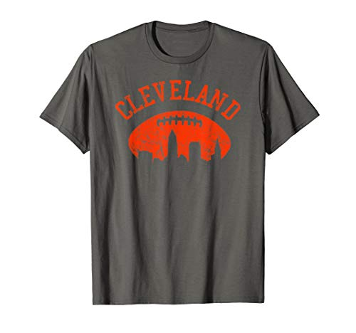 Downtown Cleveland City Skyline Football Vintage Fan T-Shirt