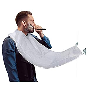 Beard Catcher Large Shaving Cape Beard Apron with Suction Cups Gift for Men Father Husband Grooming Trimming Hair Clippings (White)