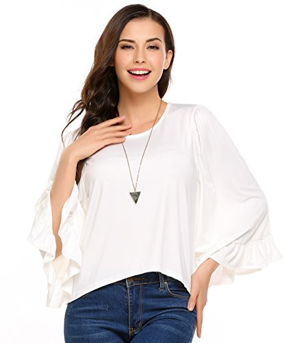 Women Casual O-Neck Bell Sleeve Ruffle Cuffs Solid Silk T-shirt Blouse White XX-Large (Silk Tee Ruffle)
