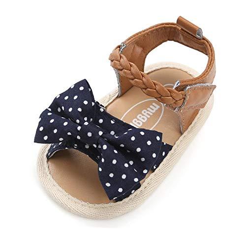RVROVIC Baby Girl Sandals - Soft Sole Infant Girl Summer Crib Shoes Princess Dress Flats (6-12 Months M US Infant, 1-DK-Blue Dot)]()