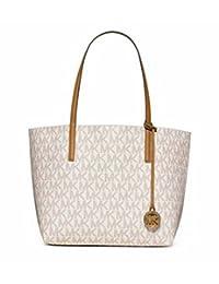 MICHAEL KORS MK Signature Hayley Logo Large EW Tote Bag in Vanilla