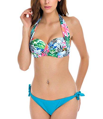 Sexy Bandeau Push Up Bikini Floral Halter Padded Swimsuit Swimwear-Q808-FBE5