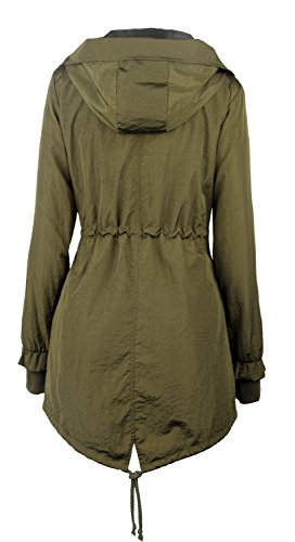 iLoveSIA Women's Military Trench rain Jacket with Hood Jacket Arm Green US 12 by iLoveSIA (Image #1)