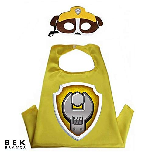 Kids Dress Up Cape and Mask Costume for Superhero Party Favors, Halloween, and More (Rubble with Emblem) -