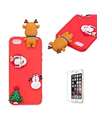 Cute Cartoon Case For iPhone 5/iPhone 5S/iPhone SE,Funyee Stylish 3D Christmas Deer Design Ultra Thin Soft TPU Silicone Case for iPhone 5/iPhone 5S/iPhone SE,Anti-scratch Rubber Durable Shell Smart Phone Case with Free Screen Protector,Red