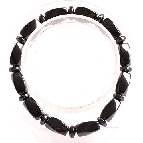 GEM-inside Natural 6X12MM Twist Magnetic Black Hematite Therapy Bracelets Jewelry for Man Women 7