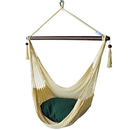 (Caribbean Hammocks Chair with Footrest - 40 inch - Soft-Spun Polyester - (Cream))