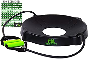 Trainer's CHOICE Yoga Fitness Exercise Ball Base - 2 HQ Comfort Grip Resistance Bands - FITS 55-85cm - FREE 100+ EXERCISES STARTER GUIDE