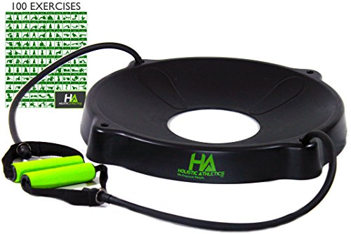 Trainer's CHOICE Yoga Fitness Exercise Ball Base - 2 HQ Comfort Grip Resistance Bands - FITS 55-85cm - FREE 100+ DIGITAL DOWNLOAD EXERCISE STARTER (Bands Balls)