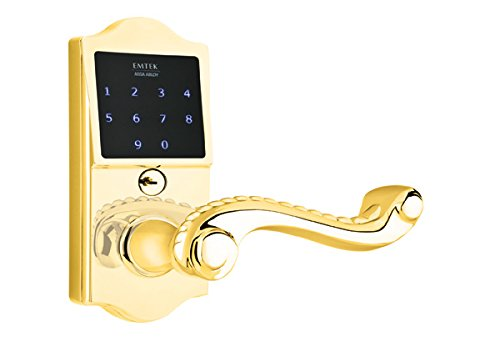 Emtek American Heritage EMTouch classic Keypad and lever, 3 finish options and 11 lever options (Indicate either Left or Right handed) (Rope Lever, Polished Brass (US3))