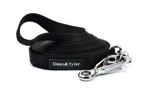 Dean and Tyler DT Track Nylon Dog Tracking Leash, Black 75-Feet by 3/4-Inch with Herm Sprenger Quick Release Hardware by Dean & Tyler