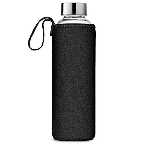 Chef's Star Glass Water Bottle 6 Pack 18oz Bottles For beverages and Juicer Use Stainless Steel leak proof Caps With Carrying Loop - Including 6 Black Nylon Protection Sleeve