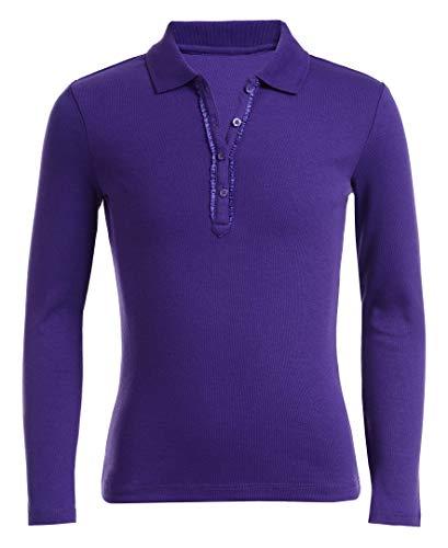 Nautica Girls' Uniform Long Sleeve Polo with Ruffle Placket,Purple,Small(7) (Girls Purple Uniform Shirt)