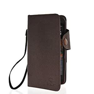 Quaroth MOONCASE Slim Flip Wallet Card Pouch Leather Shell Case Cover For HTC One M7 Brown