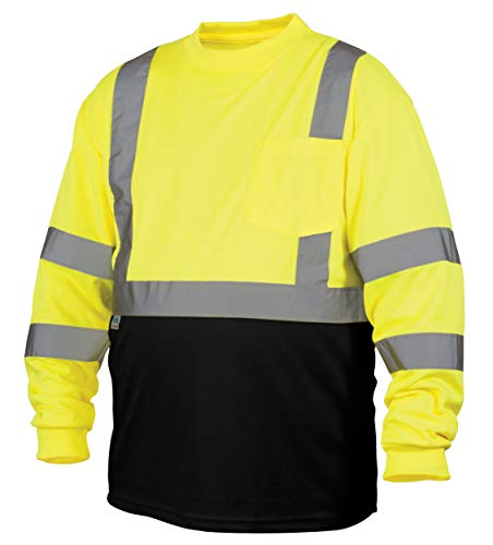 (Pyramex Safety RLTS3110BL RLTS31B Series Hi-Vis Safety T-Shirt, Polyester, Large, Lime)