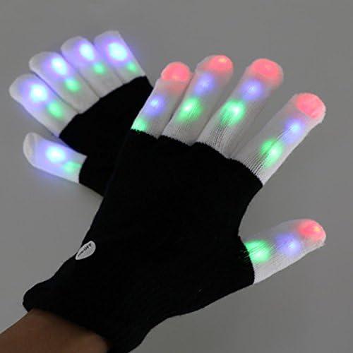 SHTAO Flash LED Guantes algodón Negro Guantes Dedo Blanco LED ...