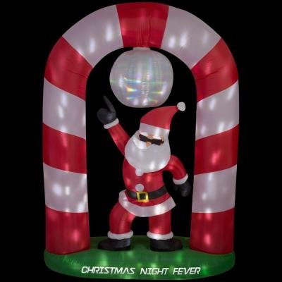 69.69 in. W x 27.56 in. D x 96.06 in. H Lighted Animated Inflatable Disco Santa Scene (POL) by Home Accents Holiday