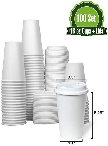 White Paper Coffee Cups Lids product image