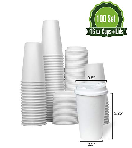 Hot White Paper Coffee Cups with Lids [ 16oz - 100 Set ] Disposable Paper Cups ideal for Home, Office, Restaurant, and Togo