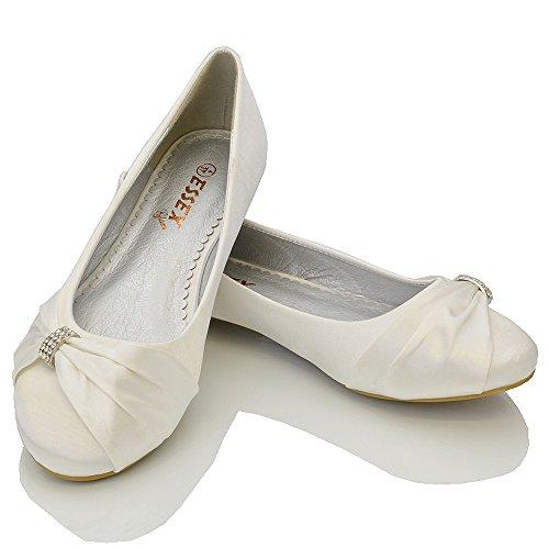 Bianco GLAM ESSEX Satin Scarpa Festa Matrimonio Donna Satin xY77qdwT8