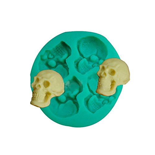gloednApple 3D DIY Silicone Halloween Skull Head Chocolate/Fondant/Candy Mold Mould Decorator Baking Tools ()