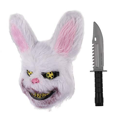 Halloween Horror Masks Scary (Halloween Horror Mask Prank Evil Bloody Rabbit Mask Plush Bunny Killer with Plastic Knife)