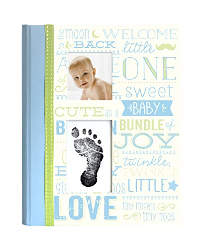 - Little Blossoms by Pearhead Vintage Wordplay Baby Five Year Memory Book with an Included Clean-Touch Ink Pad to Create Baby's Handprint or Footprint, Blue