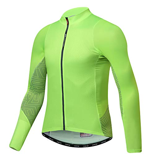 - Santic Cycling Jersey Men's Long Sleeve Tops Mountain Bike Shirts Bicycle Jacket with Pockets Green S