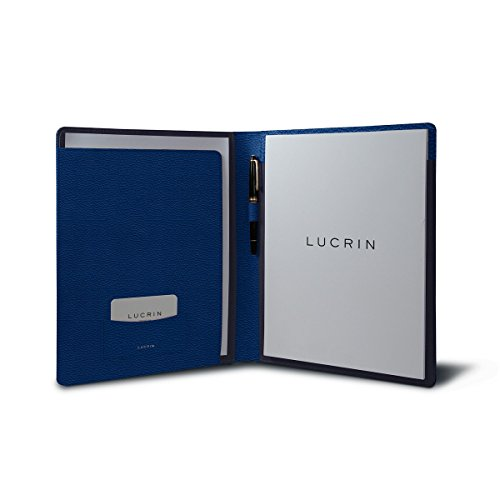 Lucrin - Genuine Leather A4/ US Letter Portfolio, Padfolio with Writing Pad - Royal Blue - Granulated Leather by Lucrin
