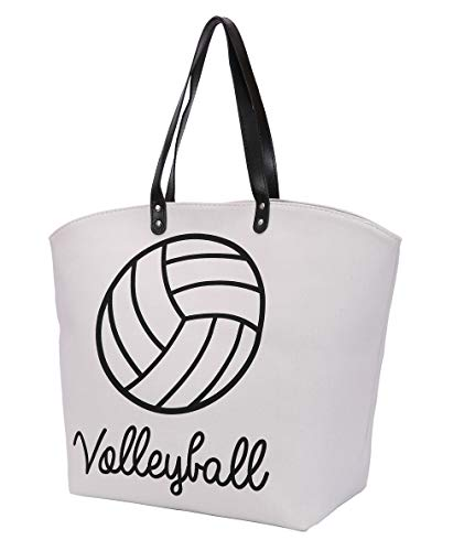E-FirstFeeling Large Volleyball Tote Bag Shoulder Bag Utility Tote Beach Bag Volleyball Mom Gifts (Volleyball Letters)