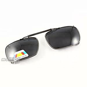 Polarized Square Sunglasses Full-Rim Frame Stretch Spring Clip-On On Eyeglasses
