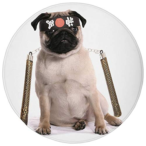Round Rug Mat Carpet,Pug,Ninja Puppy with Nunchuk Karate Dog Eastern Warrior Inspired Costume Pug Image Decorative,Cream Black Gold,Flannel Microfiber Non-slip Soft Absorbent,for Kitchen Floor Bathroo -