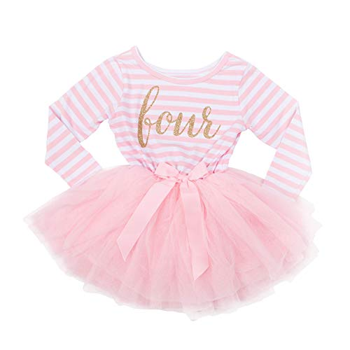 Grace & Lucille Toddler Birthday Dress (4th Birthday) (Pink Striped Long Sleeve, Gold, 4T)