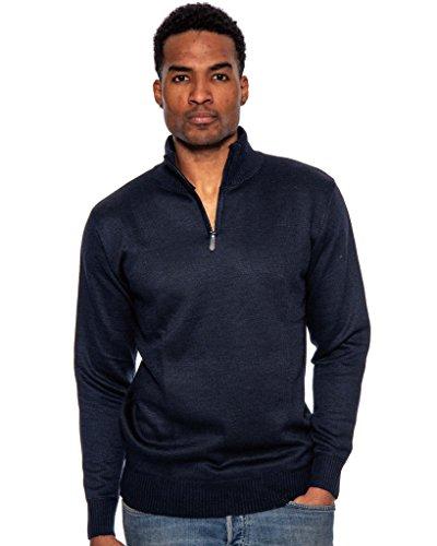 True Rock Men's Super Quarter Zip Mock Sweater-Navy-Small (Sweater Zip Mock Quarter)