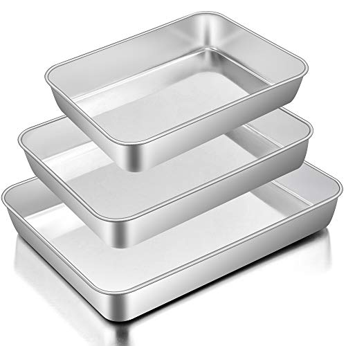 Baking Pans Set of 3, E-far Stainless Steel Sheet Cake Pan for Oven – 12.5/10.5/9.4Inch, Rectangle Bakeware Set for Cake…