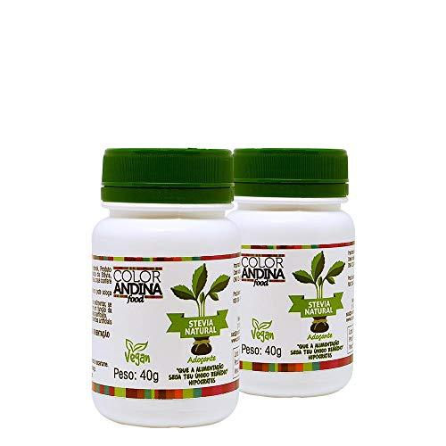 Adoçante dietético Stévia Color Andina Food, 2 potes de 40g
